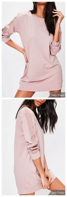 Pink Plain Round Neck Mini Dress