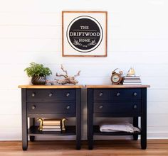 Sophisticated black end tables - painted with eco-friendly DIY furniture paint from Country Chic Paint Black Painted Furniture, White Washed Furniture, Diy Furniture, Painting Furniture, Black End Tables, Painted End Tables, Pine Dresser, Farmhouse Cabinets, Furniture Restoration