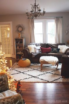 Holiday Home Tour 2014 - Rustic Cabin Inspired Christmas Living Room