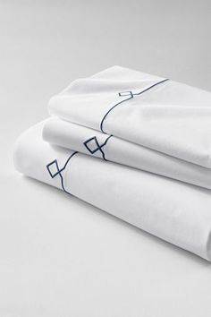 Tailored Hotel Percale Embroidered Diamond Sheet Set or Pillowcase from Lands' End