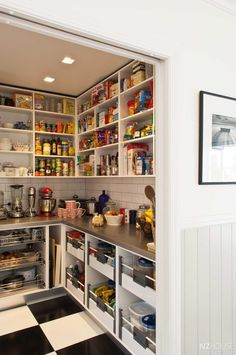Love this pantry with counter space - it would keep the main kitchen counters clean and clutter free!