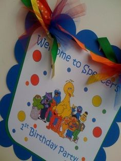 Welcome sign for Sesame Street Party