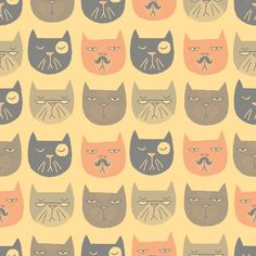 Mr Moggie by Katie Hanratty, cat pattern Cat Pattern, Pattern Art, I Love Cats, Crazy Cats, Textile Patterns, Print Patterns, Illustrations, Pattern Illustration, Surface Pattern Design