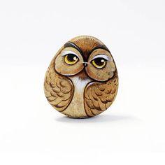 Owl stone paintingStone Art Paint by Acrylic Colour.