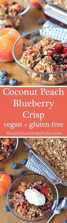 Enjoy a sweet taste of summer with this Vegan Gluten Free Coconut Peach Blueberry Crisp that's bursting with juicy fruit. Enjoy with a topping or as-is! #peachcrisp #vegan #glutenfree #vegandessert