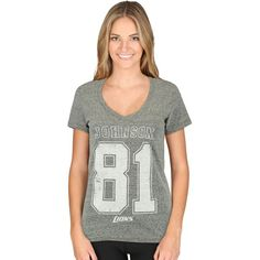 Calvin Johnson Detroit Lions Majestic Women's Change of Possession Name & Number T-Shirt - Heather Gray - $31.99