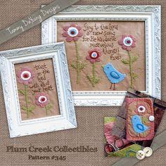Bible Verse Embroidery Pattern -- Wool felt Applique Stitchery -- felt bird with felt pin keep needle book sewing gift Psalm 98:1