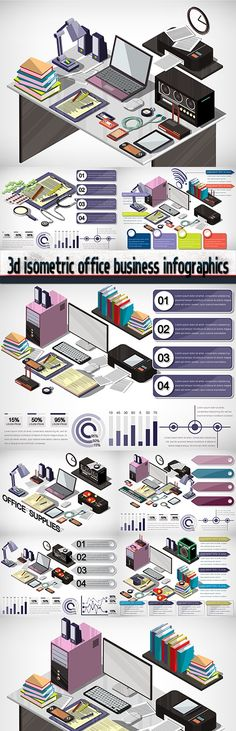 3d isometric office business infographics