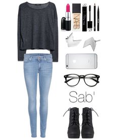 #tenue #création #pull #jean #lips #mac #teint #nars #mascara #dior #crayon #liner #earings #silver #iphone6 #lunette #glasses #boots #sab