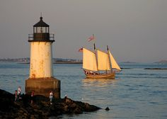 Salem, Massachusetts on the North Shore of Massachusetts - the Schooner Fame and Pickering Light