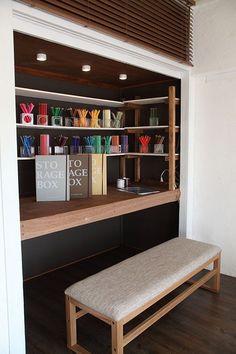 desk in the closet Diy Interior, Room Interior, Interior And Exterior, Interior Design, Home Office Design, House Design, Craft Shelves, Japanese Home Design, Small Rooms