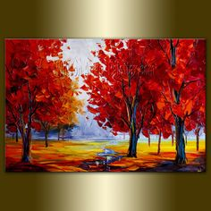 Original Landscape Painting Oil on Canvas Textured Palette Knife Contemporary Modern Tree Art Seasons 20X30 by Willson
