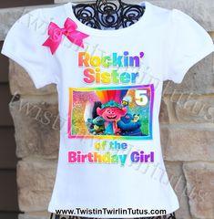 troll birthday shirts for family & troll birthday shirt _ troll birthday shirts for family _ troll birthday shirt girl Sister Shirts, Family Shirts, Shirts For Girls, 6th Birthday Parties, Girl Birthday, Birthday Ideas, Trolls Birthday Favors, Princess First Birthday, Customized Girl
