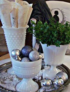 Shabby Sweet Cottage: An Ottoman Vignette-I can actually do this one-I have white milk glassware just like this and the silver tray!