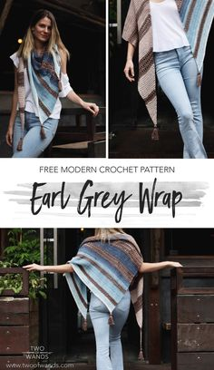 Free crochet pattern! Summer is halfway over, time to start thinking about how to stay cozy in the Fall! Earl Grey Wrap pattern by Two of Wands looks like the perfect wrap to throw on in the crisp weather. #fall #wrap #crochet #free #pattern #shawl #triangle