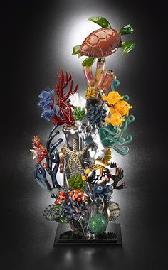 Glass coral reef with sea turtle by Joe Peters