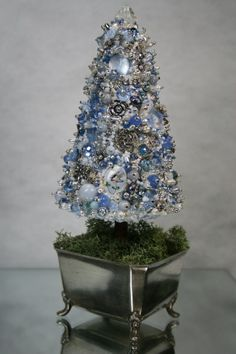 Small Topiary  Blue Ice Silver Art Piece by ClassicStyleDesigns, $65.00