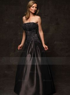 A-Line/Princess Strapless Floor-Length Embroidered Satin Zipper Up at Side Strapless Sleeveless Black General Mother of the Bride Dress