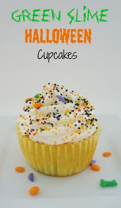These Green Slime Halloween Cupcakes look delicious!