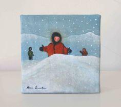 King of the Hill  Original Painting  Winter Kids by artofjane, $25.00