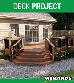 The Recon deck is perfect for entertaining. It includes a spot for your grill and a large octagon seating area for your patio set! Decking Material, Landscape Materials, Backyard, Patio, Outdoor Living, Outdoor Decor, Deck Design, Building Materials, New Homes