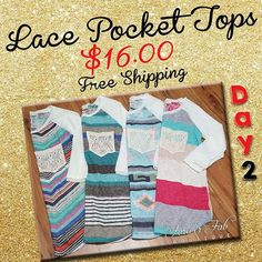 Lace Pocket Knit Tops only $16.00 foreverfabboutique.com Free Shipping Sale ends 12/4/15 at 1pm CST. Women's Clothing Fashion Forever Fab Boutique #deals #sale #shop #fashion