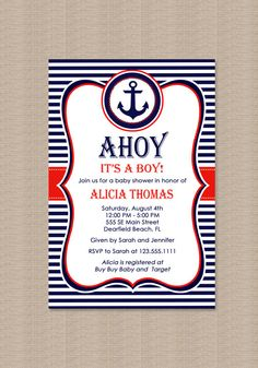 Hey, I found this really awesome Etsy listing at https://www.etsy.com/listing/102617202/nautical-baby-shower-invitation-in-red