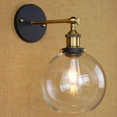 BAYCHEER Industrial Vintage Style Wide Single Light Wall sconces Wall Light Lamp with Glass Globe Shade use 1 Bulb in Black Led Wall Lights, Sconce Lamp, Bedside Lighting, Lights, Wall Lamp, Indoor Wall Sconces, Industrial Wall Lights, Wall Sconce Lighting, Glass Light Fixture