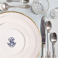 Make your tablescape memorable with beautiful dinnerware and flatware. Our white porcelain china is perfect for everyday use! Explore more stunning table settings at https://www.sashanicholas.com/shop-all/weave-monogrammed-salad-plate/   Something Blue for Weddings   Tablescapes   China   Dinnerware   Registry