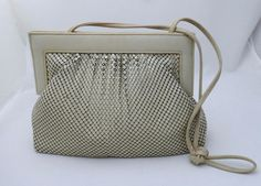 Whiting and Davis Taupe Color Mesh Leather Frame Combo Clutch/Shoulder Purse #WhitingandDavis #Clutch