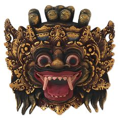 'Bali Barong' Artisan Crafted Gold Colored Wood Mask Wall Art NOVICA Indonesia…