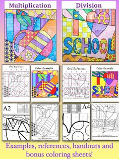 """Math + Art = Fun!!! These LARGE (35"""" x 35"""") group coloring math fact review posters are a BIG hit with students and make a beautiful display in your school!"""