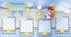 SWEET DREAMS BABY BOY ~ 2 premade scrapbook pages paper piecing layout ~ CHERRY