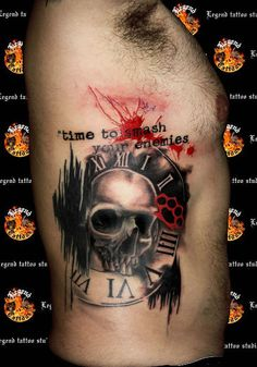 Trash polka style tattoo with a skull in the center of a clock,  on a man's side ribs. By Yannis Legend Tattoo