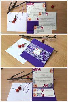 Individuelle Pocketfold-Hochzeitseinladung mit Blütenmotiven von Wedding Republic – Liebe auf Papier.   Wedding Invitation, Roses, Flowers, Pocketfold, #WeddingRepublic