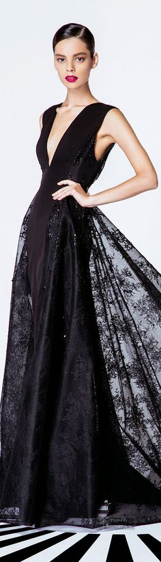 <3Timeless Style Classic Black<3 ***Georges Hobeika.SS 2015*** #gown #prom