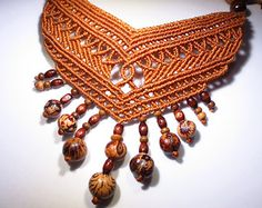 Macrame Brown Necklace Handmade with natural seeds and wood beads