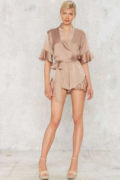 Mad World Ruffled Romper - Tan - Clothes | Rompers + Jumpsuits | Best Sellers | Rompers | All Party