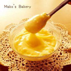 レンジで作る低カロリーカスタードクリーム by cafe_mako Tea Time, Bakery, Ice Cream, Sweets, Bread, Fruit, Desserts, Recipes, Food