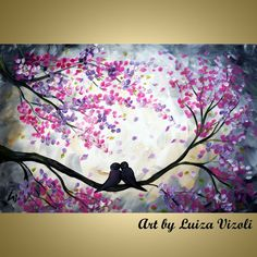 Love Birds Cherry BlossomPainting Whimsical