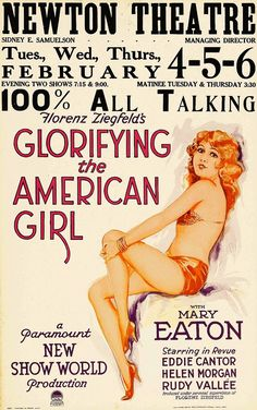 """""""Glorifying the American Girl"""" (1929) is a musical comedy produced by Florenz Ziegfeld. The last third of the film (filmed in early Technicolor) is basically a Follies production, with cameos by Rudy Vallee, Helen Morgan and Eddie Cantor. Many prints exhibited on television are in black-and-white only, and do not include pre-Code material, such as nudity. The film was restored, to the length of 96 minutes, with the original Technicolor sequences, by the UCLA Film and Television Archive."""