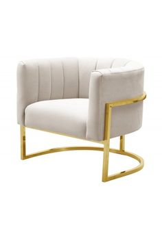 Cream Channel Tufted Modern Gold Frame Chair