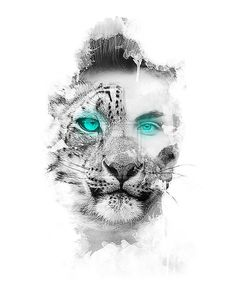 This is an interesting layout of a mix between a leopard and a woman. This requires a very similar angle between the two faces to line up correctly.
