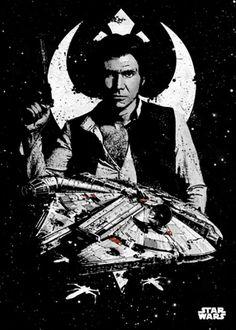 Poster metálico Capitán Han Solo y Halcon Milenario, 45 x 32 cm. Star Wars Pilots  Un poster metálico con el Capitán Han Solo, piloto de la mítica nave El Halcón Milenario y cuyo copiloto es Chewbacca.  Por su estructura de metal este poster es resistente y además de fácil montaje.