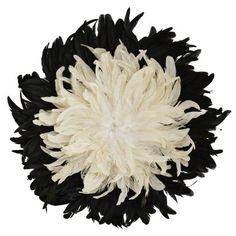 """Decoration plumes esprit """"juju hat"""" - Blanc/Noir"""