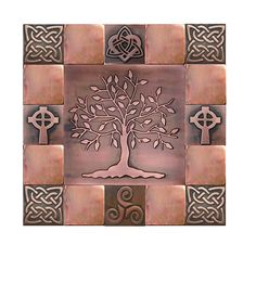Metal Decorative Tiles Tree Of Life Tree Of Happiness Metal Wall Art Metal Decorative