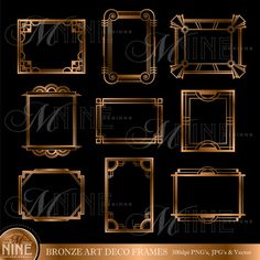 Bronze ART DECO FRAMES Digital Clipart, Instant Download, Vintage Design Elements Antique Borders Clip Art