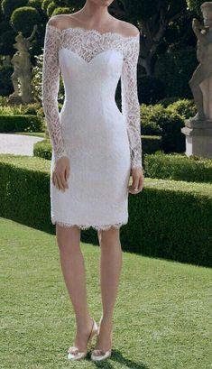 Feminine Lace Short Wedding Dress for Summer, Beach Wedding, Outdoor  Wedding, Country Wedding, City Hall Wedding 8af3a15b6e