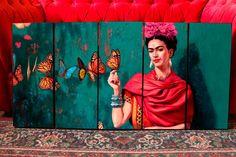 Set Mural De Cuadros Modernos Frida Kahlo Con Mariposas - $ 875,00 en MercadoLibre Graffiti Wall Art, Mural Art, Art Pop, Mexican Paintings, Mexican Artwork, Inspirational Canvas Art, Frida Kahlo Portraits, Kahlo Paintings, Mexico Art