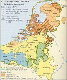 De Opstand en het begin van de Republiek Nederland European Map, European History, Vintage Maps, Vintage Posters, Early World Maps, Holland Map, Awsome Pictures, Classical Antiquity, Historical Maps